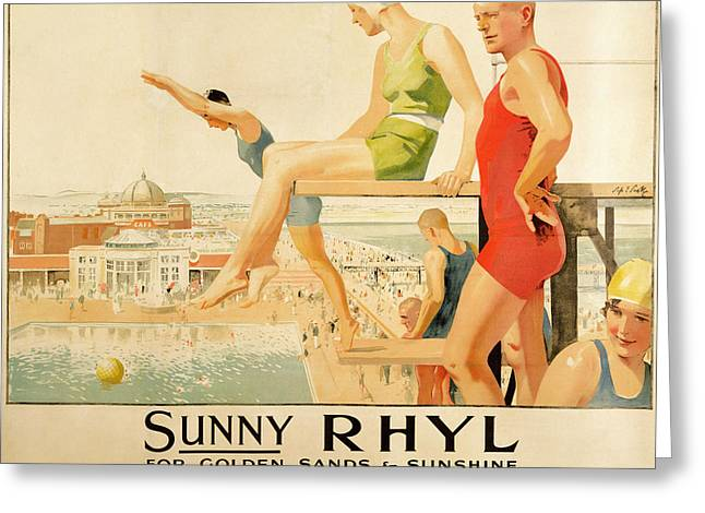 North Wales Greeting Cards - Poster advertising Sunny Rhyl  Greeting Card by Septimus Edwin Scott