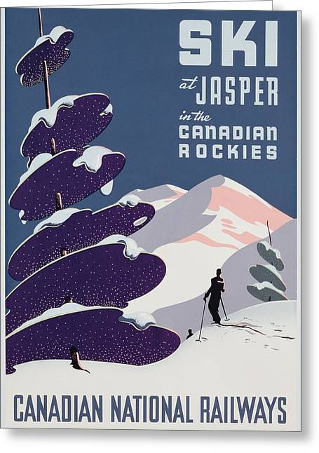 Skiing Poster Greeting Cards - Poster advertising the Canadian Ski Resort Jasper Greeting Card by Canadian School
