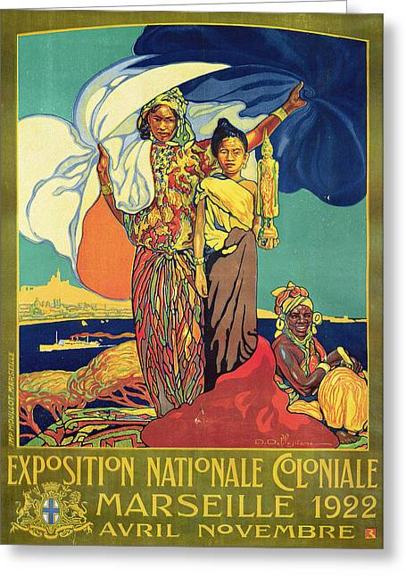 National Greeting Cards - Poster Advertising The Exposition Nationale Coloniale, Marseille, April To November 1922 Colour Greeting Card by David Dellepiane