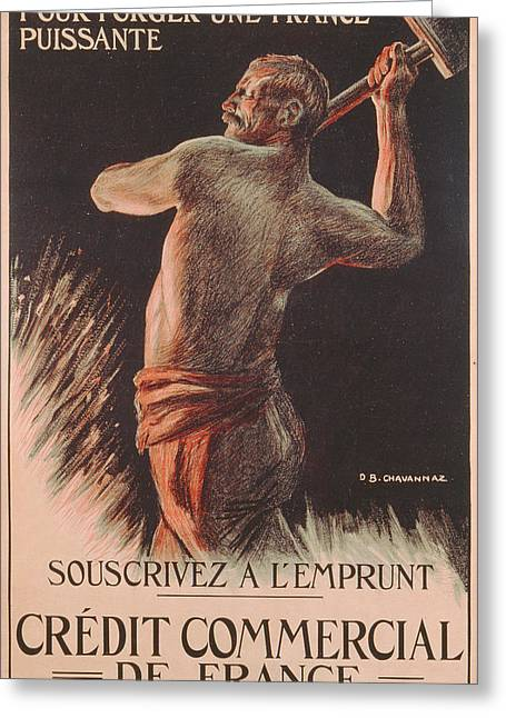 Ww1 Drawings Greeting Cards - Poster Advertising the French National Loan Greeting Card by B Chavannaz