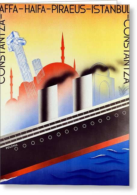 Sea Route Greeting Cards - Poster Advertising the Polish Palestine Line Greeting Card by Zygmunt Glinicki