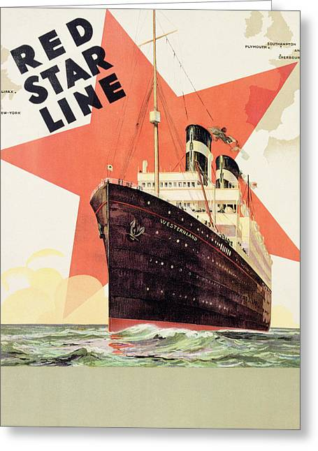 Advertise Greeting Cards - Poster Advertising the Red Star Line Greeting Card by Belgian School
