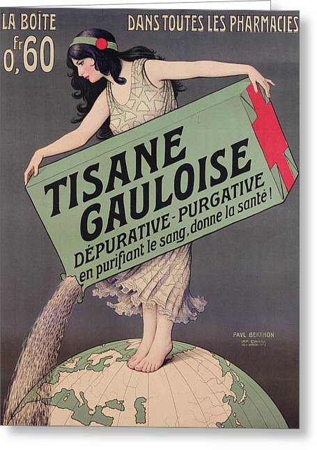 Poster Advertising Tisane Gauloise Greeting Card by Paul Berthon