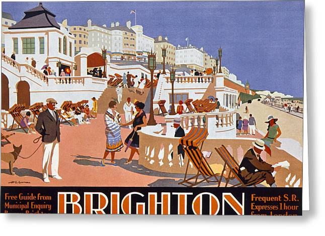 Deck Chairs Greeting Cards - Poster Advertising Travel To Brighton Greeting Card by Henry George Gawthorn