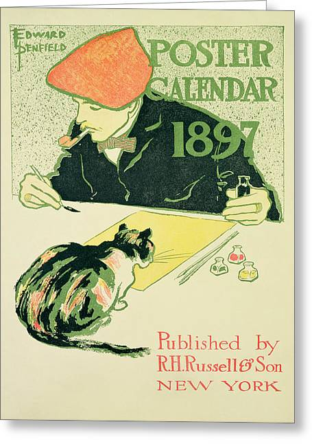 Self-portrait Greeting Cards - Poster Calendar, Pub. By R.h. Russell & Son, 1897 Colour Litho Greeting Card by Edward Penfield