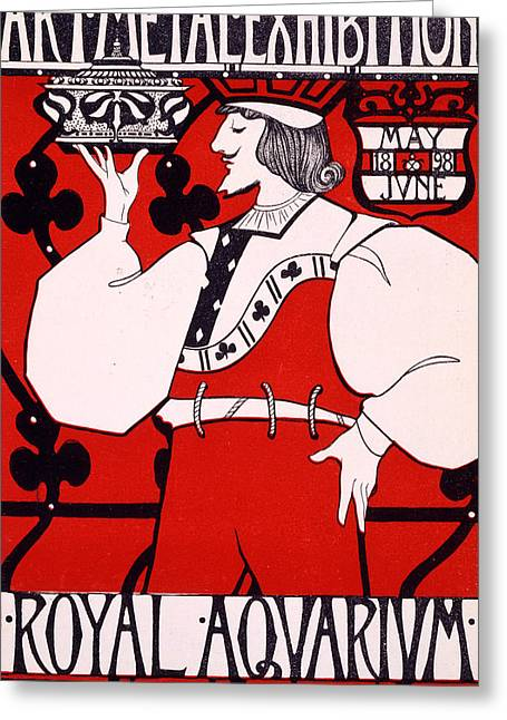 Playing Cards Drawings Greeting Cards - Poster for Art Metal Exhibition at the Royal Aquarium Greeting Card by Isobel Lilian Gloag