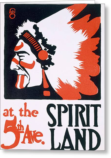 Native American Drawings Greeting Cards - Poster for Spirit Land Greeting Card by Frederic G Cooper