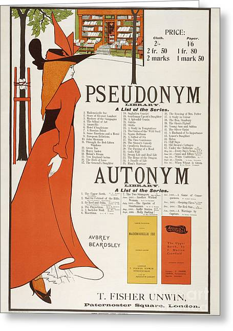 Literary Drawings Greeting Cards - Poster for The Pseudonym and Autonym Libraries Greeting Card by Aubrey Beardsley