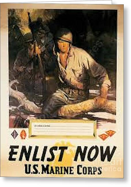 Wwi Greeting Cards - Poster from WWI Enlist now Greeting Card by David Call