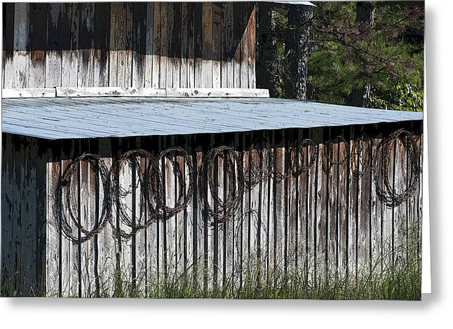 Tin Roof Greeting Cards - Poster Look Arkansas Barn Side with Rolls of Barb Wire USA Greeting Card by Sally Rockefeller