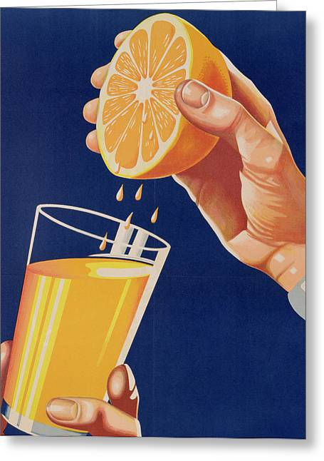 Squeezing Greeting Cards - Poster with a glass of Orange Juice Greeting Card by Israeli School