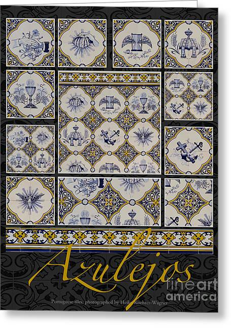 Poster With Beige-blue Portuguese Tile-works Greeting Card by Heiko Koehrer-Wagner