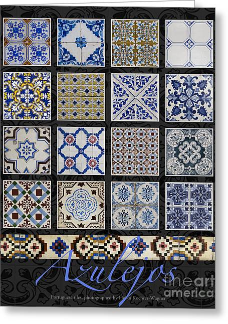 Poster With Colored Portuguese Tile-works  Greeting Card by Heiko Koehrer-Wagner
