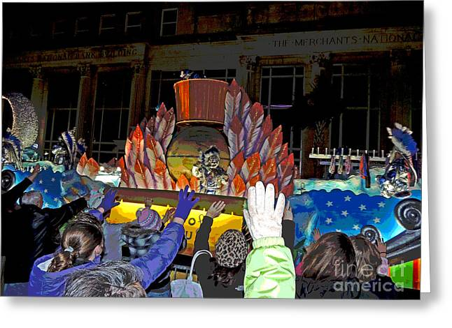 Spirit Of Mardi Gras Greeting Cards - Posterized Crewe of Columbus Emblem Float Greeting Card by Marian Bell