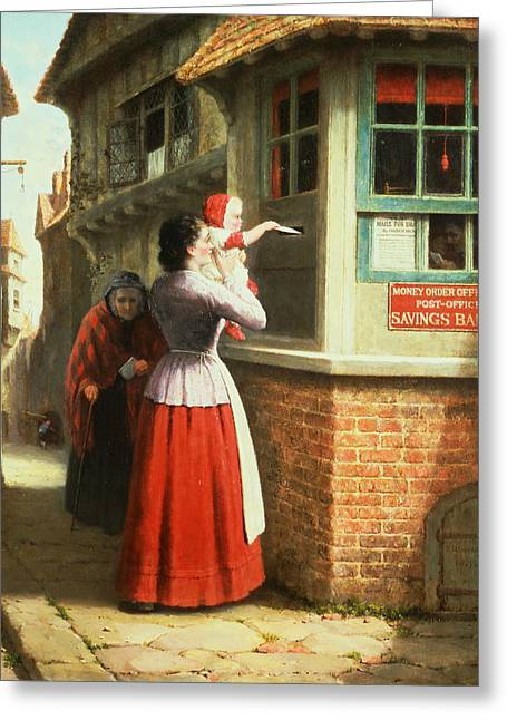 Postboxes Greeting Cards - Posting A Letter, 1879 Greeting Card by Frederick Daniel Hardy