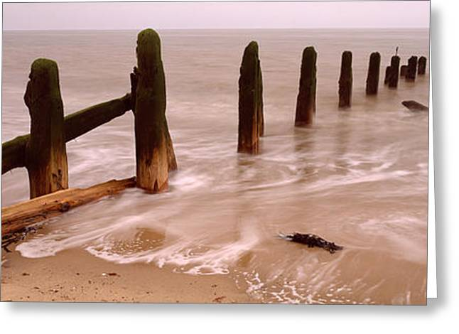 Horizon Over Water Greeting Cards - Posts On The Beach, Spurn, Yorkshire Greeting Card by Panoramic Images