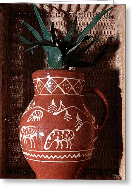 Pottery Pitcher Greeting Cards - Pot in a Nook Greeting Card by Grace Dillon