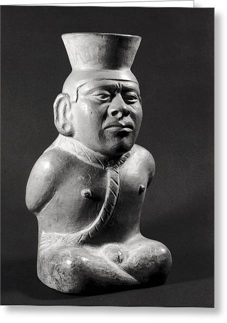 Inca Greeting Cards - Pot In The Form Of A Prisoner, Mochica 200-800 Ad Terracotta Bw Photo Greeting Card by Pre-Columbian