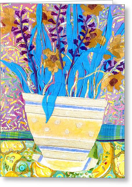 Diane Fine Greeting Cards - Pot of Blue Greeting Card by Diane Fine
