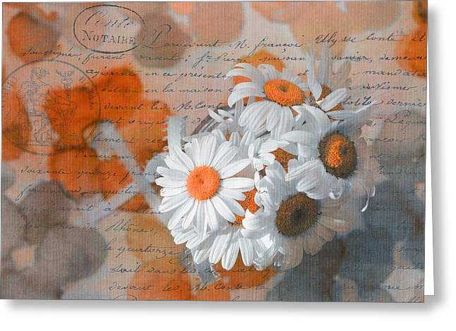 Vintage Floral Greeting Cards - Pot of Daisies 02 - s3r-rngt1d Greeting Card by Variance Collections
