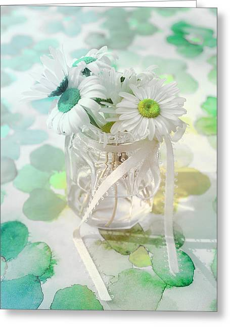 Pot Of Daisies 03s29a - Du Bonheur En Pot Greeting Card by Variance Collections