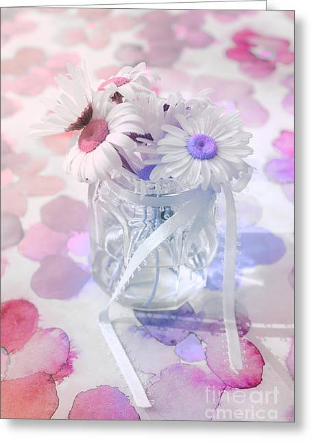 Pastel Pink Greeting Cards - Pot of Daisies 03s29d - Du Bonheur en Pot Greeting Card by Variance Collections