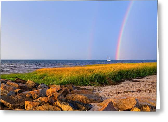 Double Rainbow Greeting Cards - Pot Of Gold Greeting Card by Bill  Wakeley