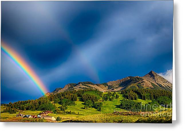 Double Rainbow Photographs Greeting Cards - Pot of Gold - Crested Butte Colorado Greeting Card by Scotts Scapes