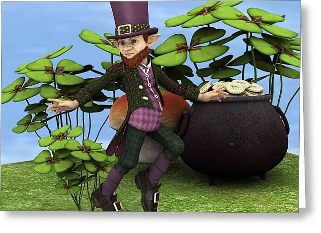 Purple Mushrooms Digital Greeting Cards - Pot of Gold Greeting Card by Design Windmill