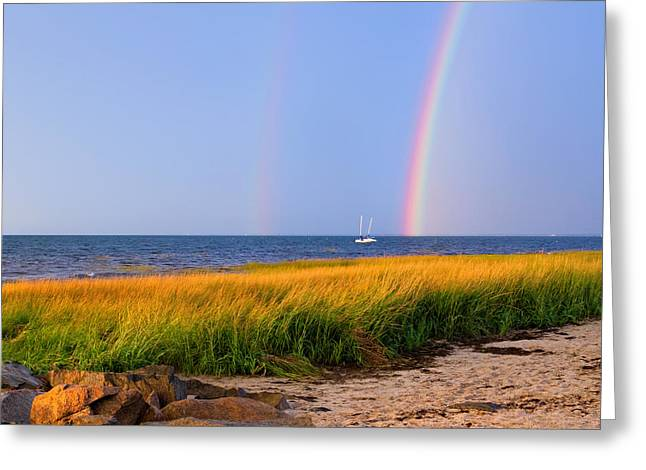 Double Rainbow Greeting Cards - Pot Of Gold Square Greeting Card by Bill  Wakeley