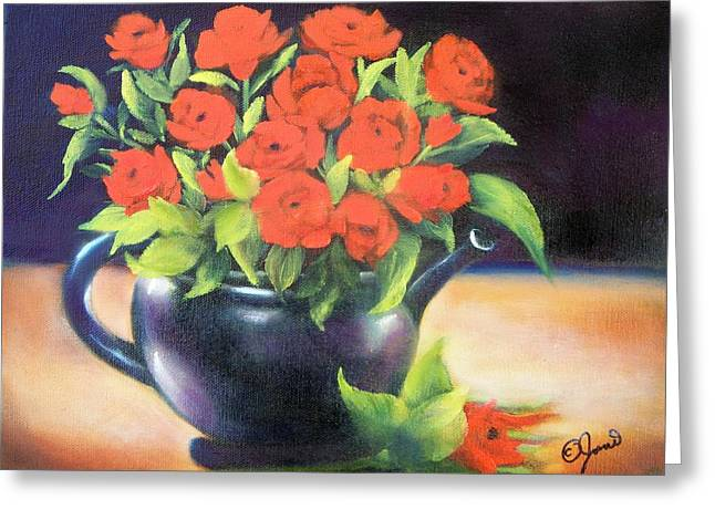Pot Of Roses Greeting Card by Joni McPherson