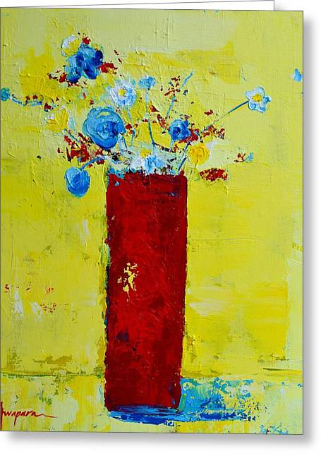 Interior Still Life Paintings Greeting Cards - Pot of Wild Flowers Greeting Card by Patricia Awapara