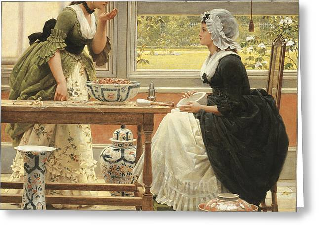 Smelling Greeting Cards - Pot-pourri Greeting Card by George Dunlop Leslie