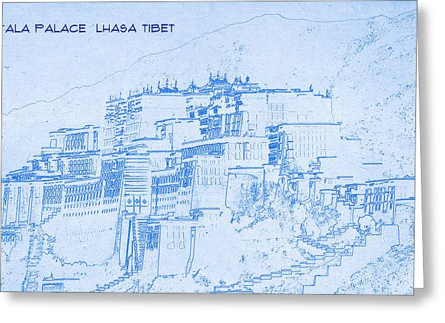 Bravery Mixed Media Greeting Cards - Potala Palace  Lhasa Tibet  - BluePrint Drawing Greeting Card by MotionAge Designs