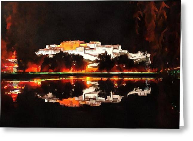 """photo Manipulation"" Paintings Greeting Cards - Potala Palace Night View Greeting Card by Mario Carini"