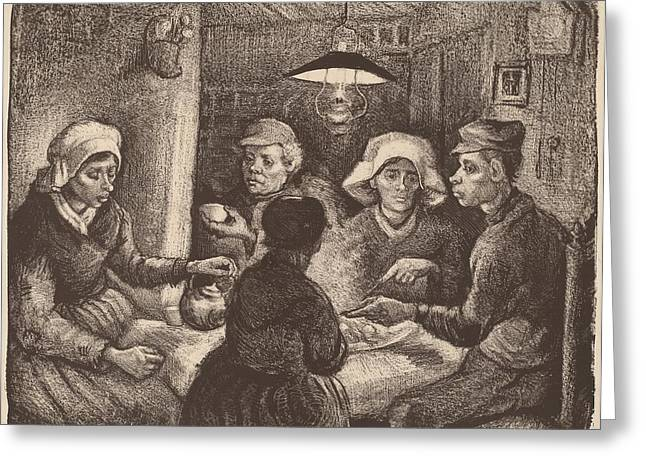 Famous ist Drawings Greeting Cards - Potato Eaters Greeting Card by Vincent van Gogh