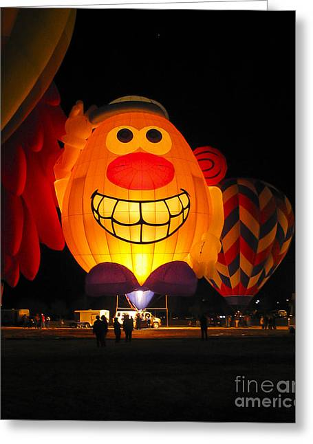 Steven Ralser Greeting Cards - Potato Head Balloon glow Greeting Card by Steven Ralser