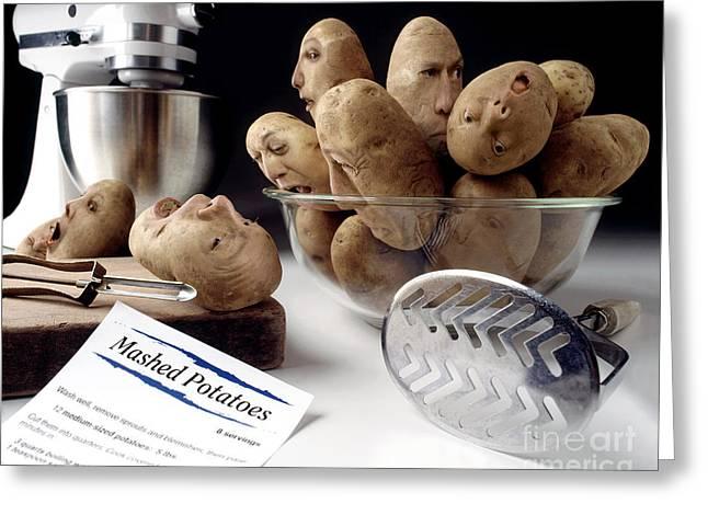 Potato Panic Greeting Card by Dick Smolinski