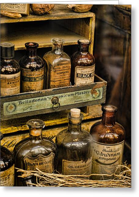 History Of Medicine Greeting Cards - Potions and Cure Alls Greeting Card by Heather Applegate