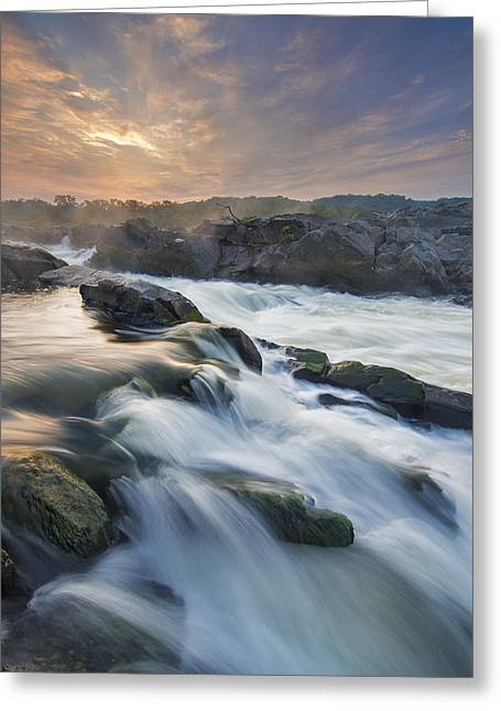 """great Falls"" Greeting Cards - Potomac Light Show Greeting Card by Joseph Rossbach"