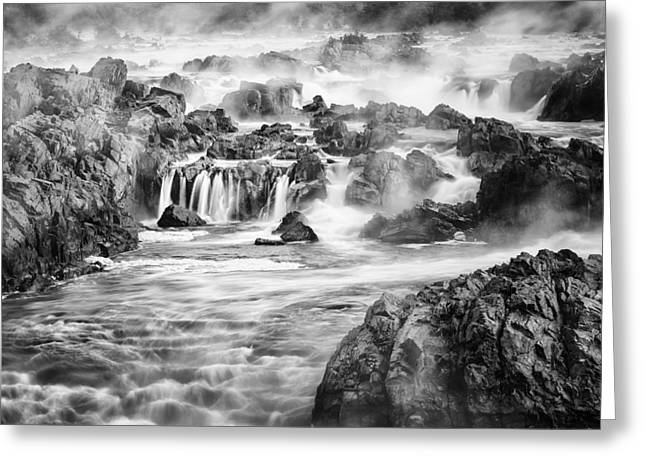 """great Falls"" Greeting Cards - Potomac Mist Greeting Card by Mike Lang"