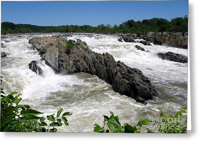 """great Falls"" Greeting Cards - Potomac Rapids Greeting Card by Olivier Le Queinec"