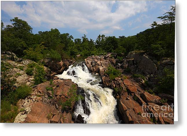 Great Falls Greeting Cards - Potomac River Great Falls Greeting Card by James Brunker