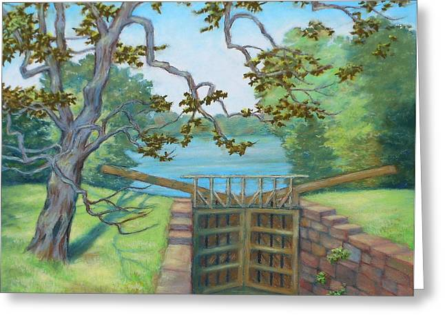 Park Scene Pastels Greeting Cards - Potomac River Inlet at Violettes Lock C and O Canal MD Greeting Card by Nancy Heindl