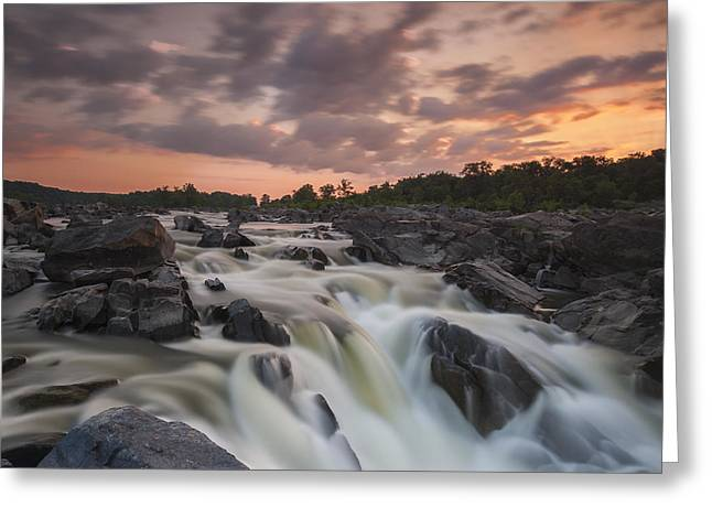 """great Falls"" Greeting Cards - Potomac Sunrise Greeting Card by Joseph Rossbach"