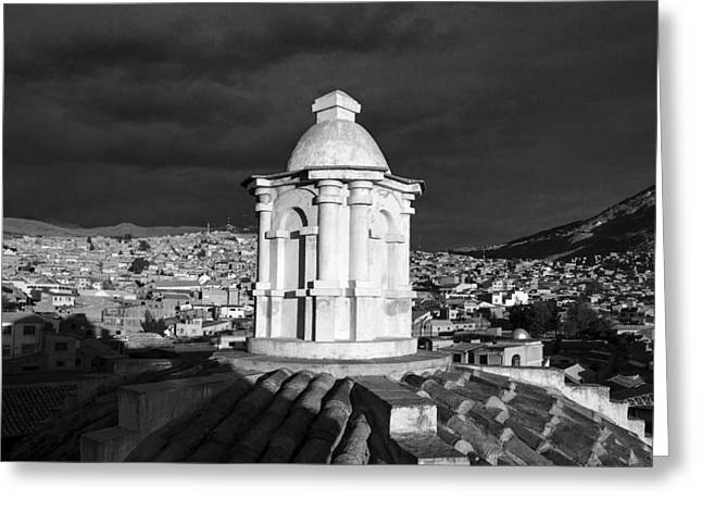 Bolivia Guide Greeting Cards - Potosi Church Dome Black And White Greeting Card by For Ninety One Days