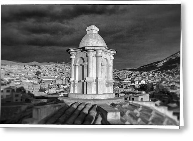 Bolivia Guide Greeting Cards - Potosi Church Dome Black And White Framed Greeting Card by For Ninety One Days