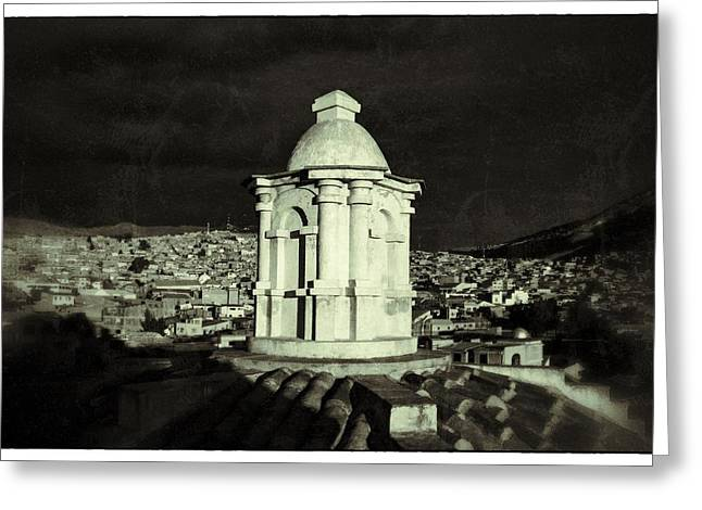 Bolivia Guide Greeting Cards - Potosi Church Dome Black And White Vintage Greeting Card by For Ninety One Days