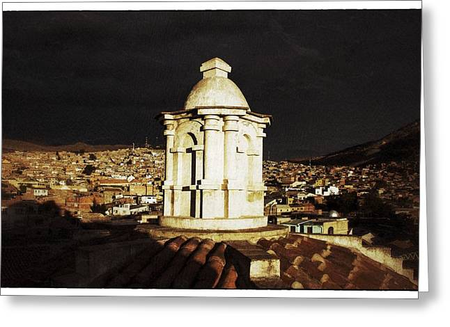 Bolivia Guide Greeting Cards - Potosi Church Dome Vintage Greeting Card by For Ninety One Days