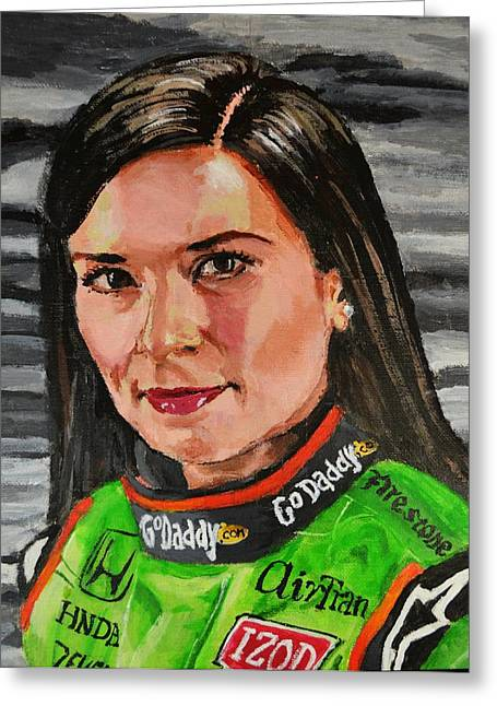 Go Daddy Greeting Cards - Potrrait of Danica Patrick Greeting Card by P D Morris